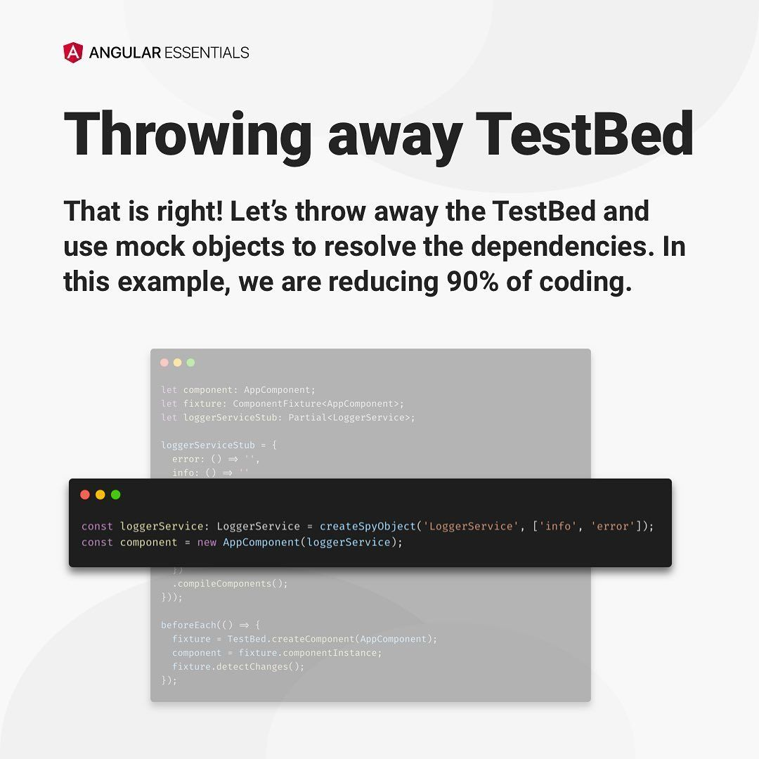 Unit testing angular apps without testbed
