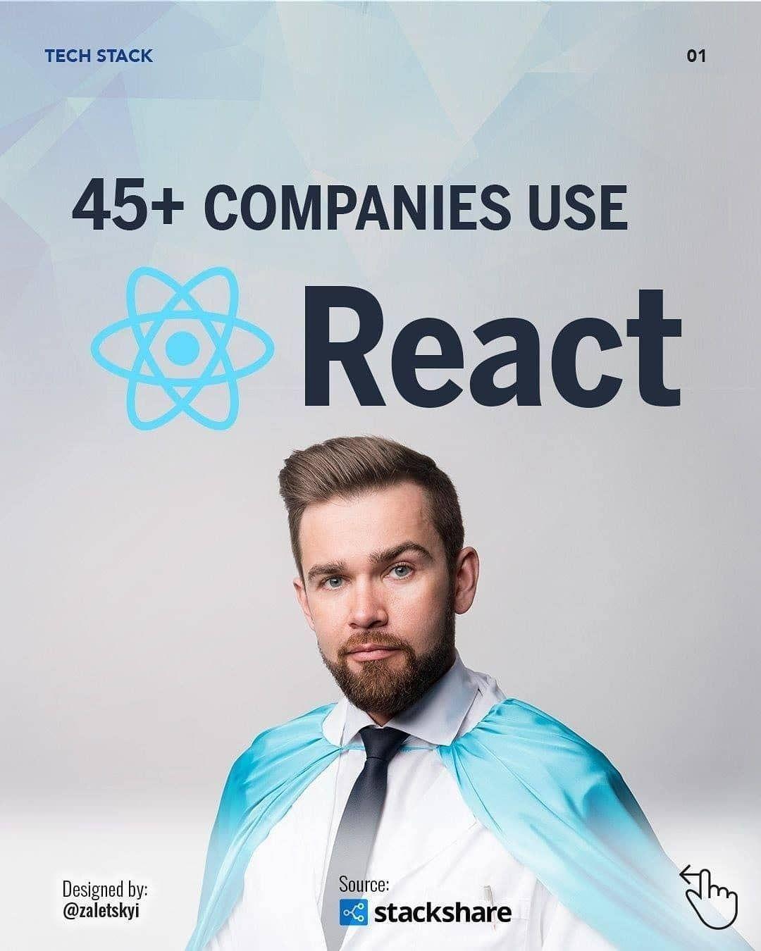45+ companies use react