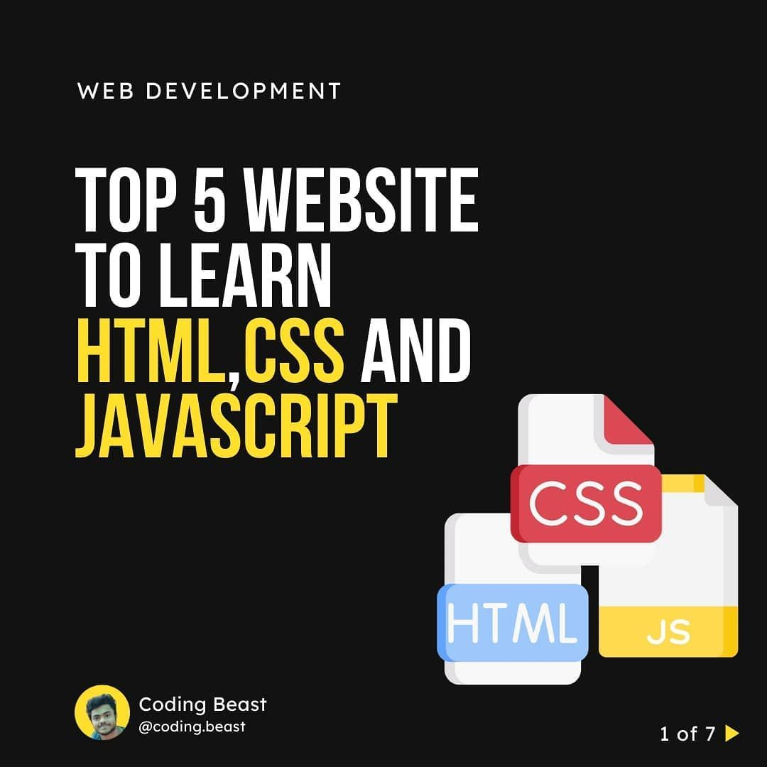 Top 5 website to learn html css javascript